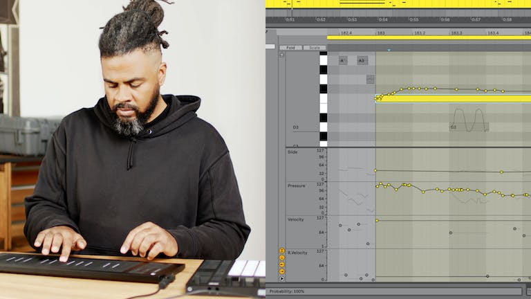 Artist demonstrates MPE using a Roli Seaboard, Push and Live 11's new Note Expression View
