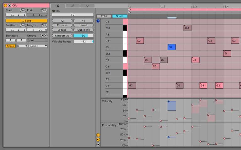 Ein MIDI-Clip zeigt, wie die Wahrscheinlichkeit für das Abspielen einer Note bestimmt werden kann