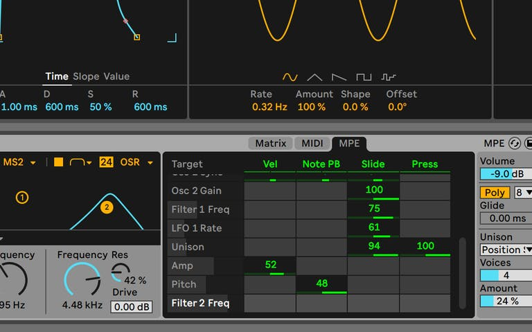 Wavetable, with the MPE window open